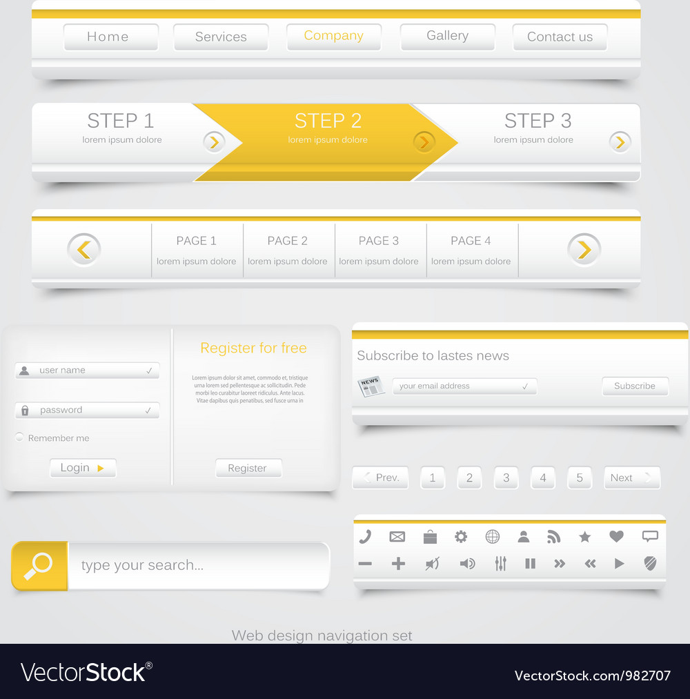 Web site navigation menu pack 3 vector