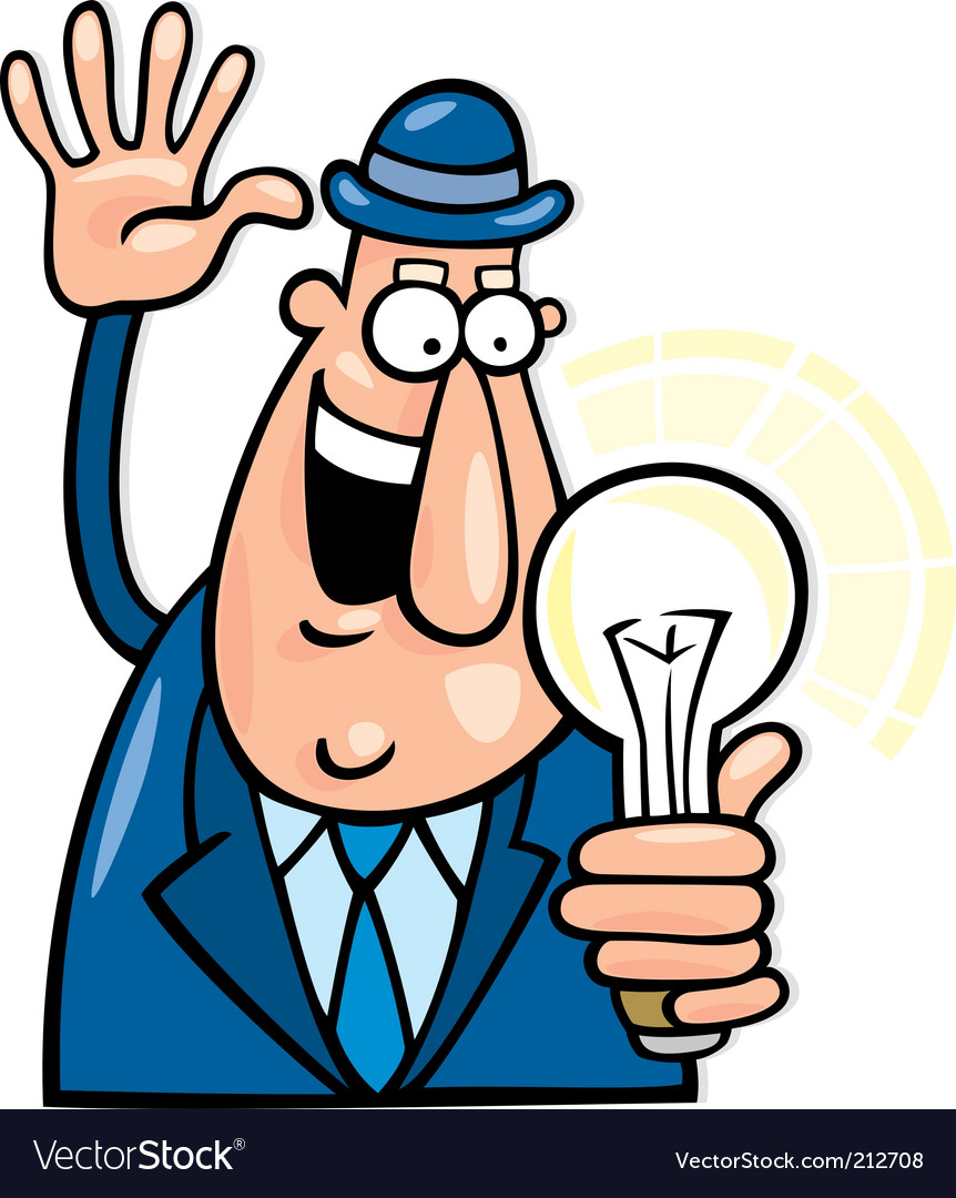 Cartoon man with idea vector