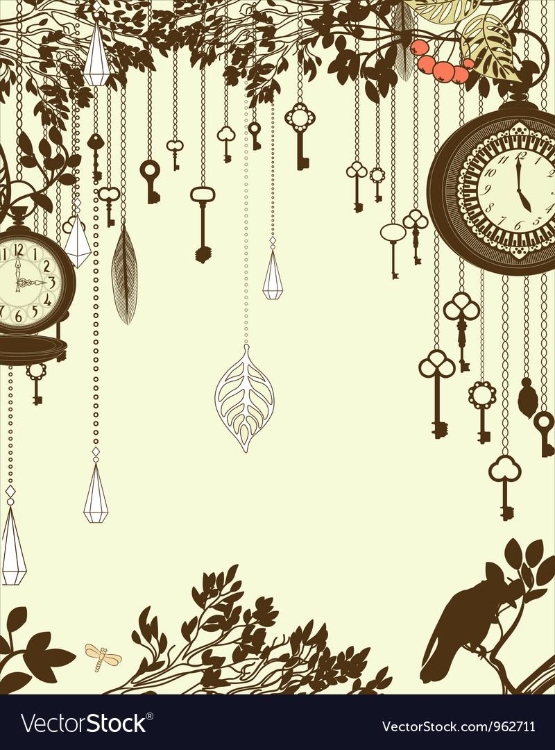Clock and keys vintage vector
