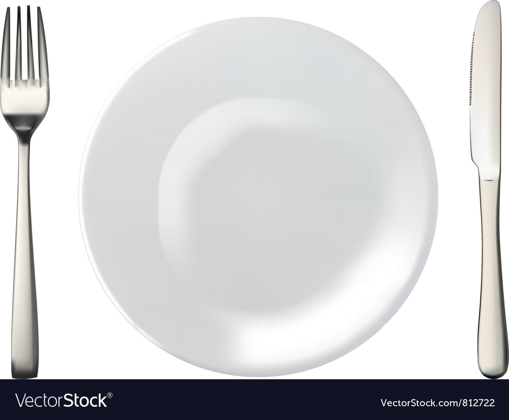 Plate and cultery vector