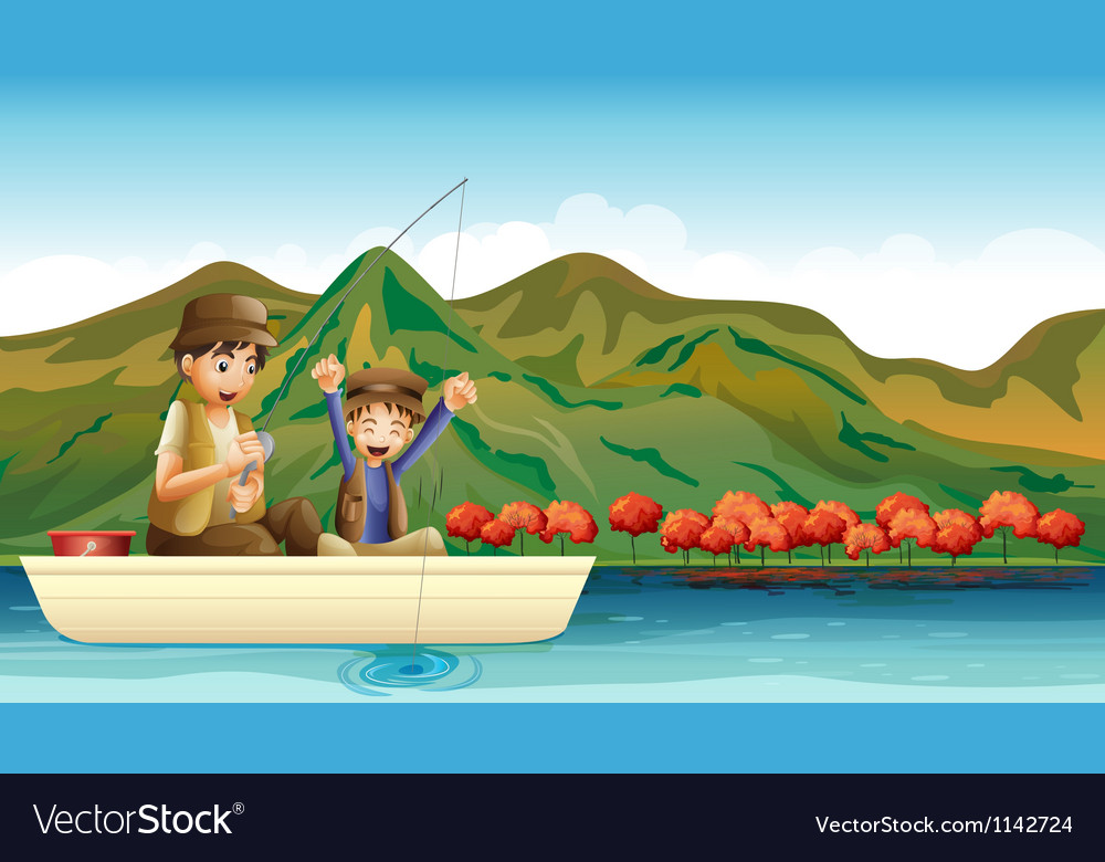 Having fun while fishing vector