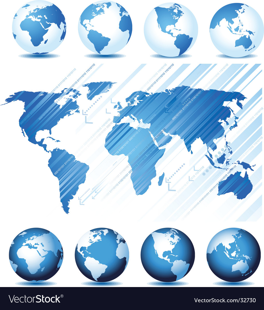 Globe and map background vector