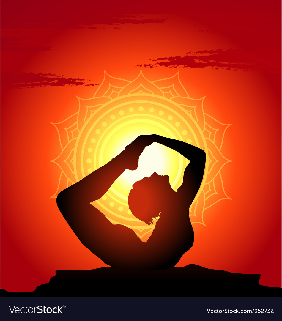 Free yoga poses at sunset background vector