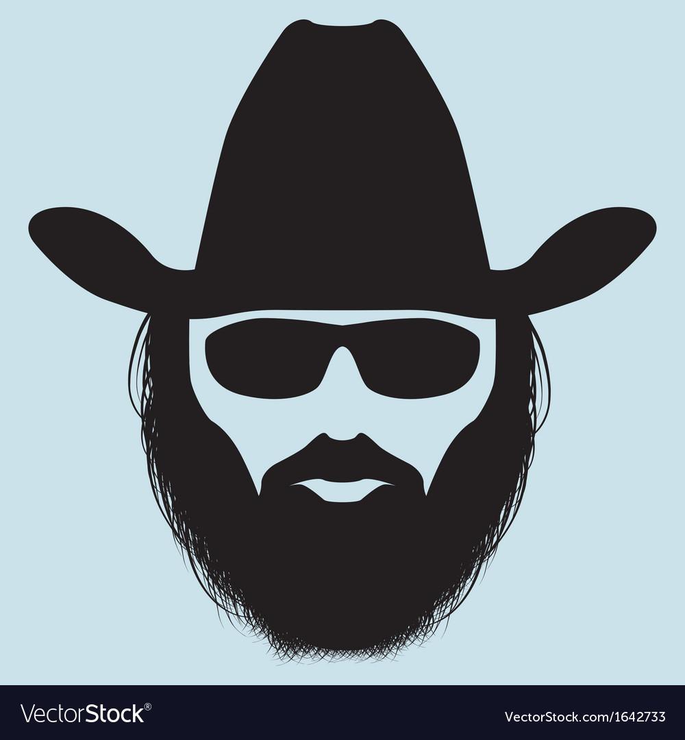 Bearded man silhouette vector