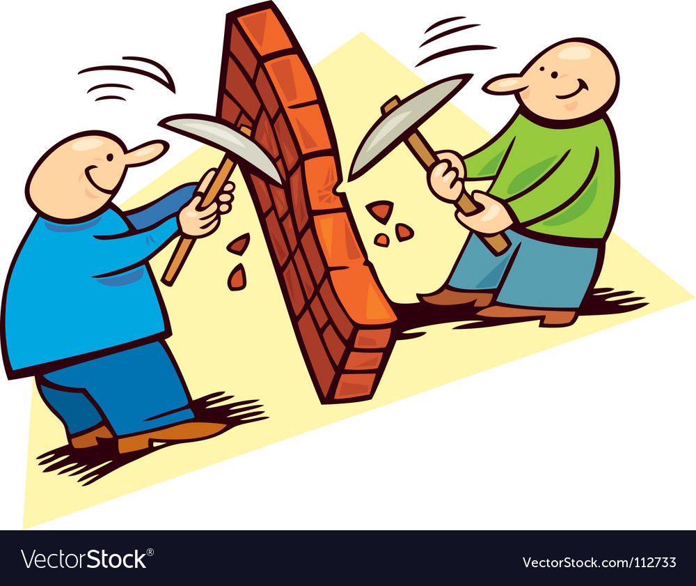 Men breaking the wall vector