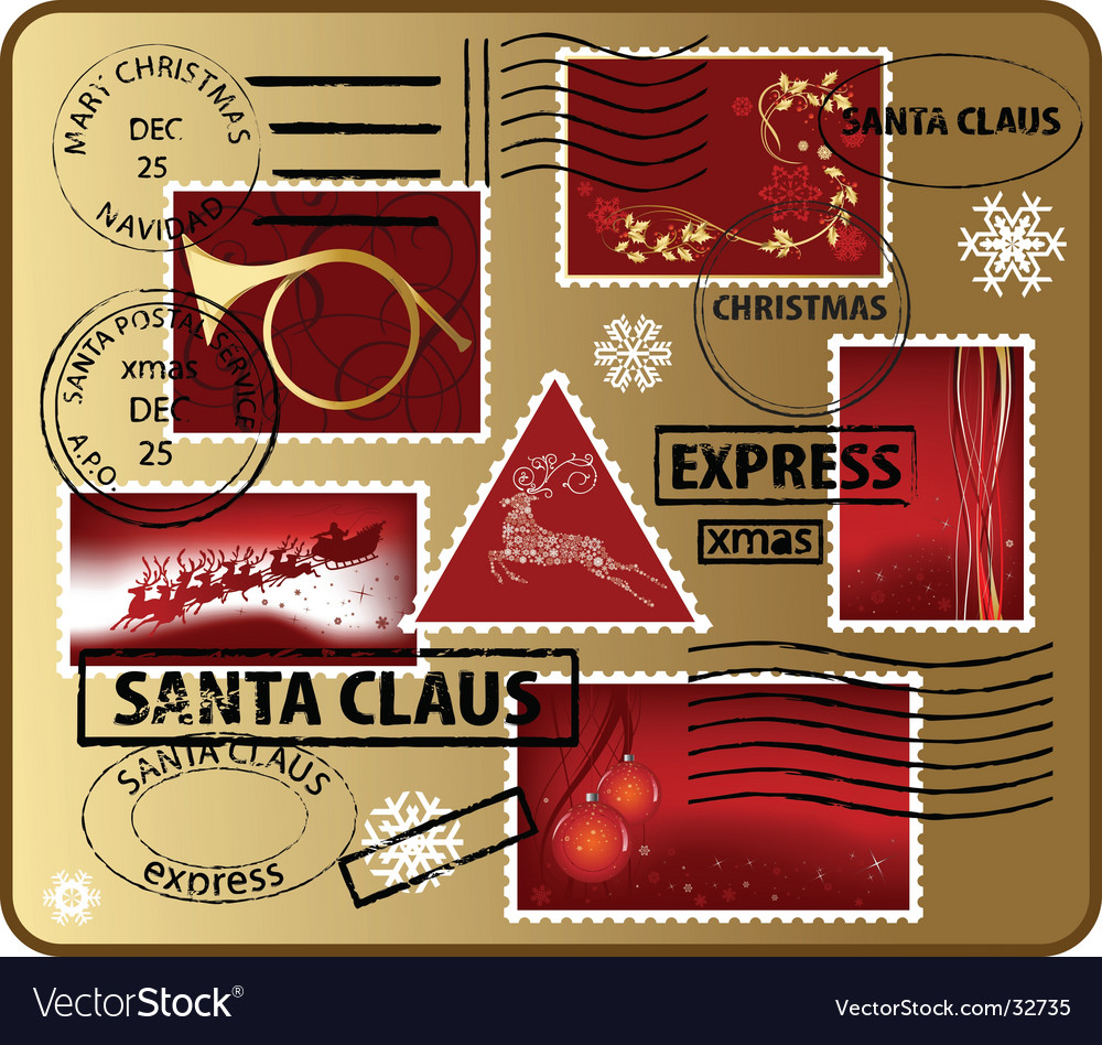Set of christmas mail elements vector