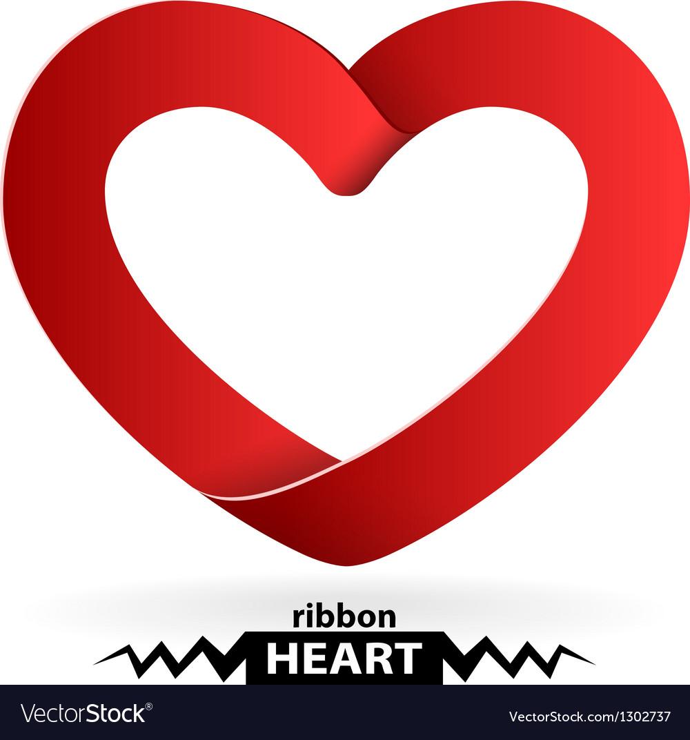 Heart shape ribbon vector