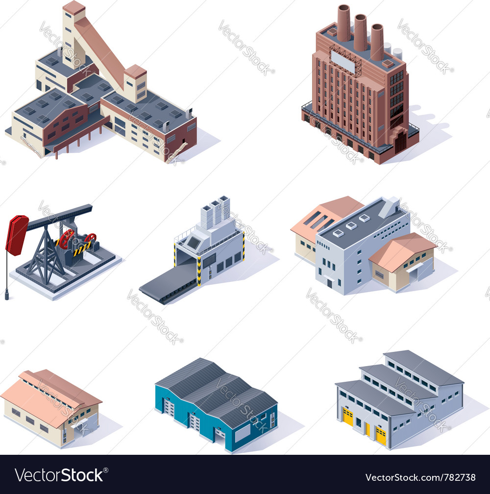 Isometric industrial buildings vector