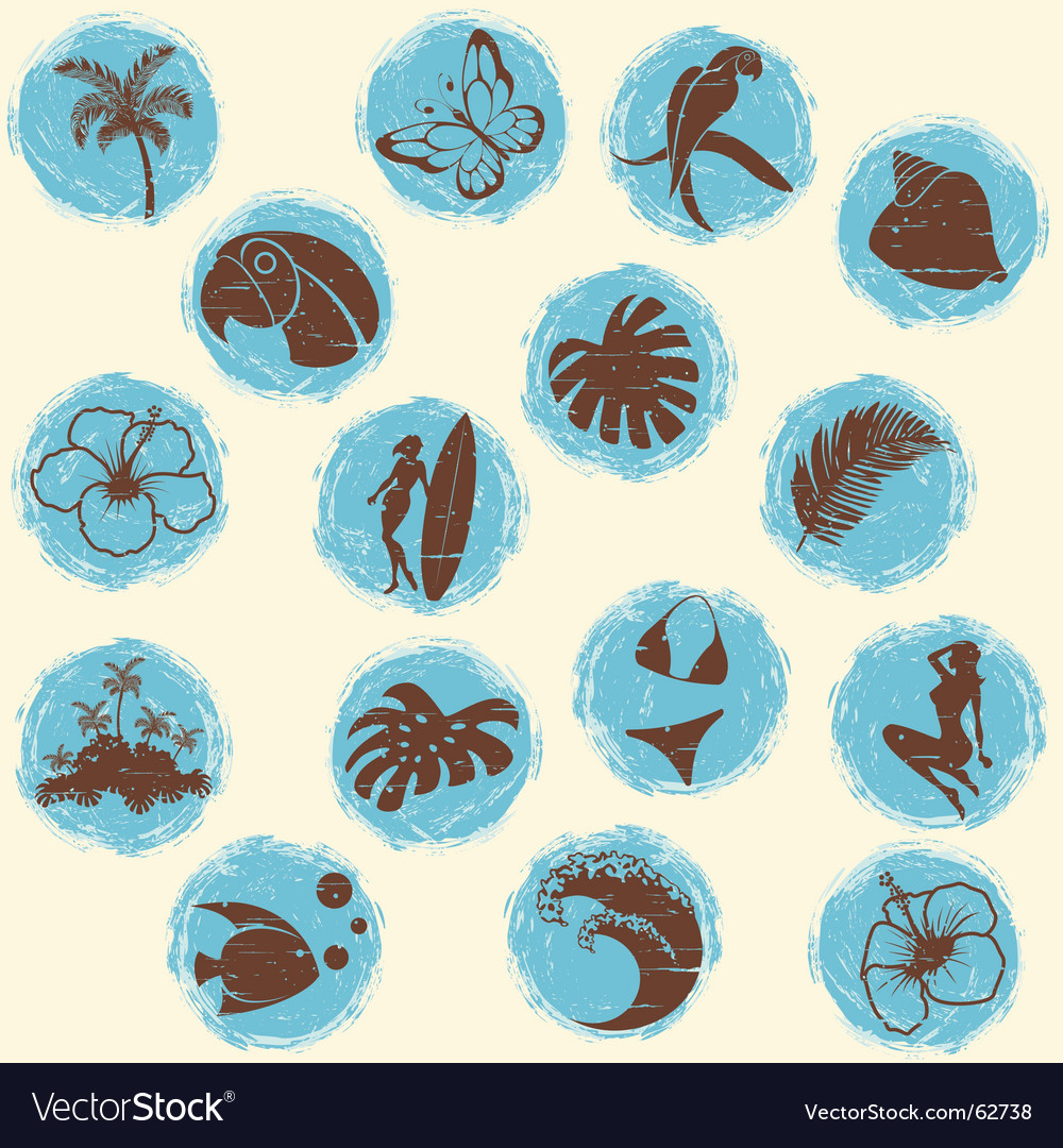 Tropical grunge buttons vector