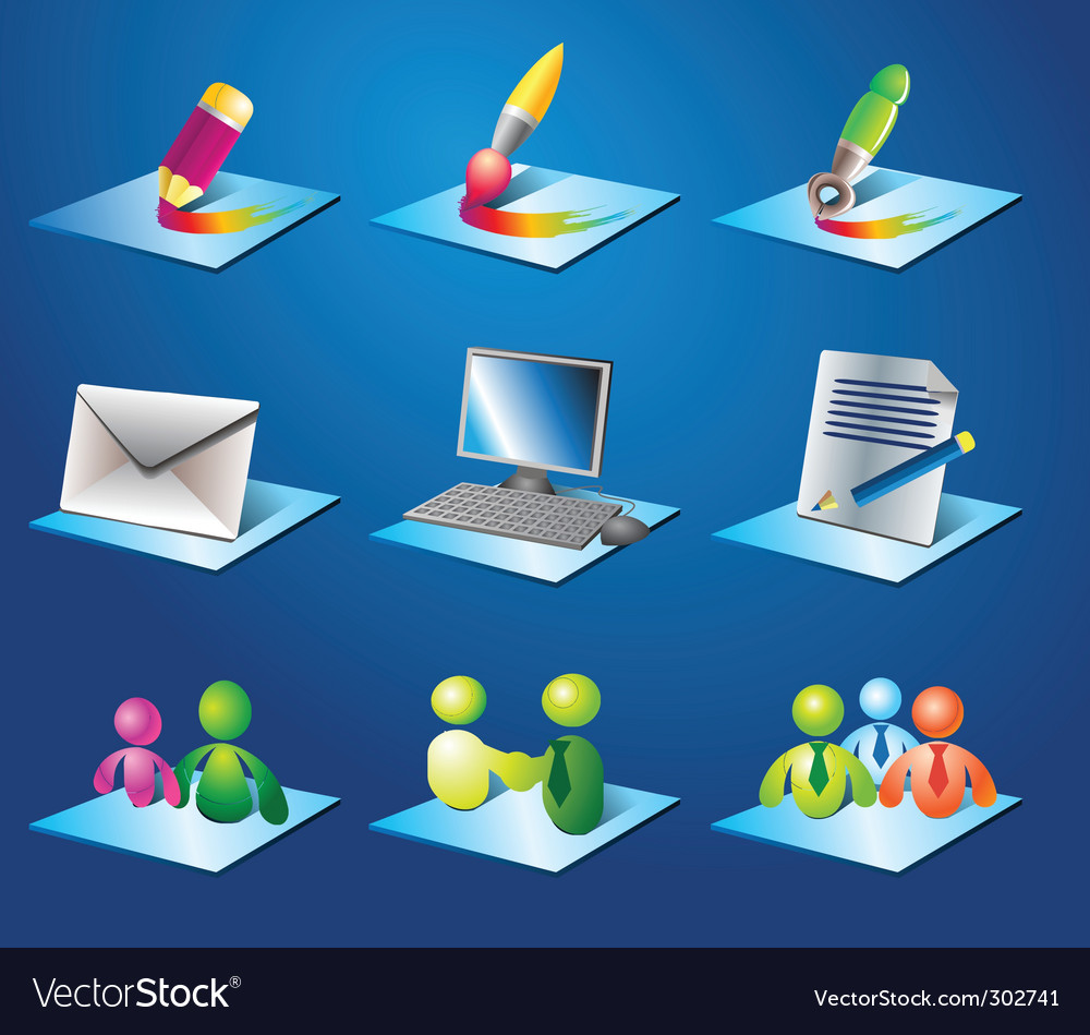 Icons for business vector