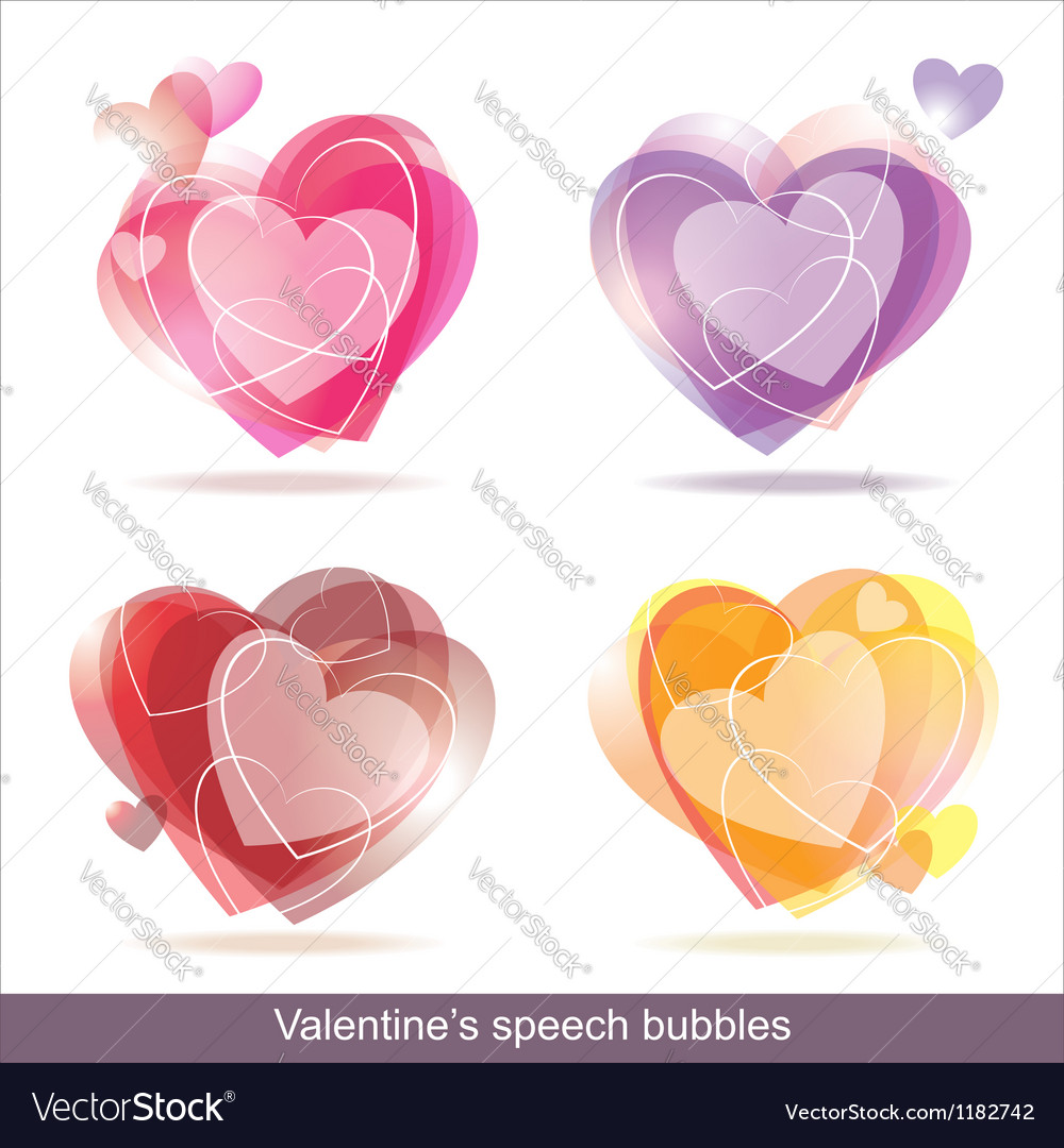 Hearts speech bubbles vector