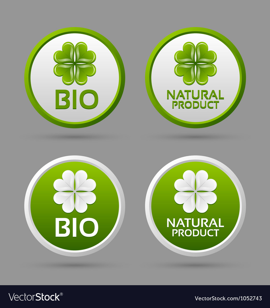 Bio and natural product badge icons vector