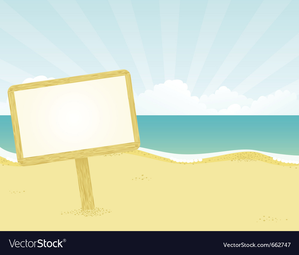 Wodden beach sign vector