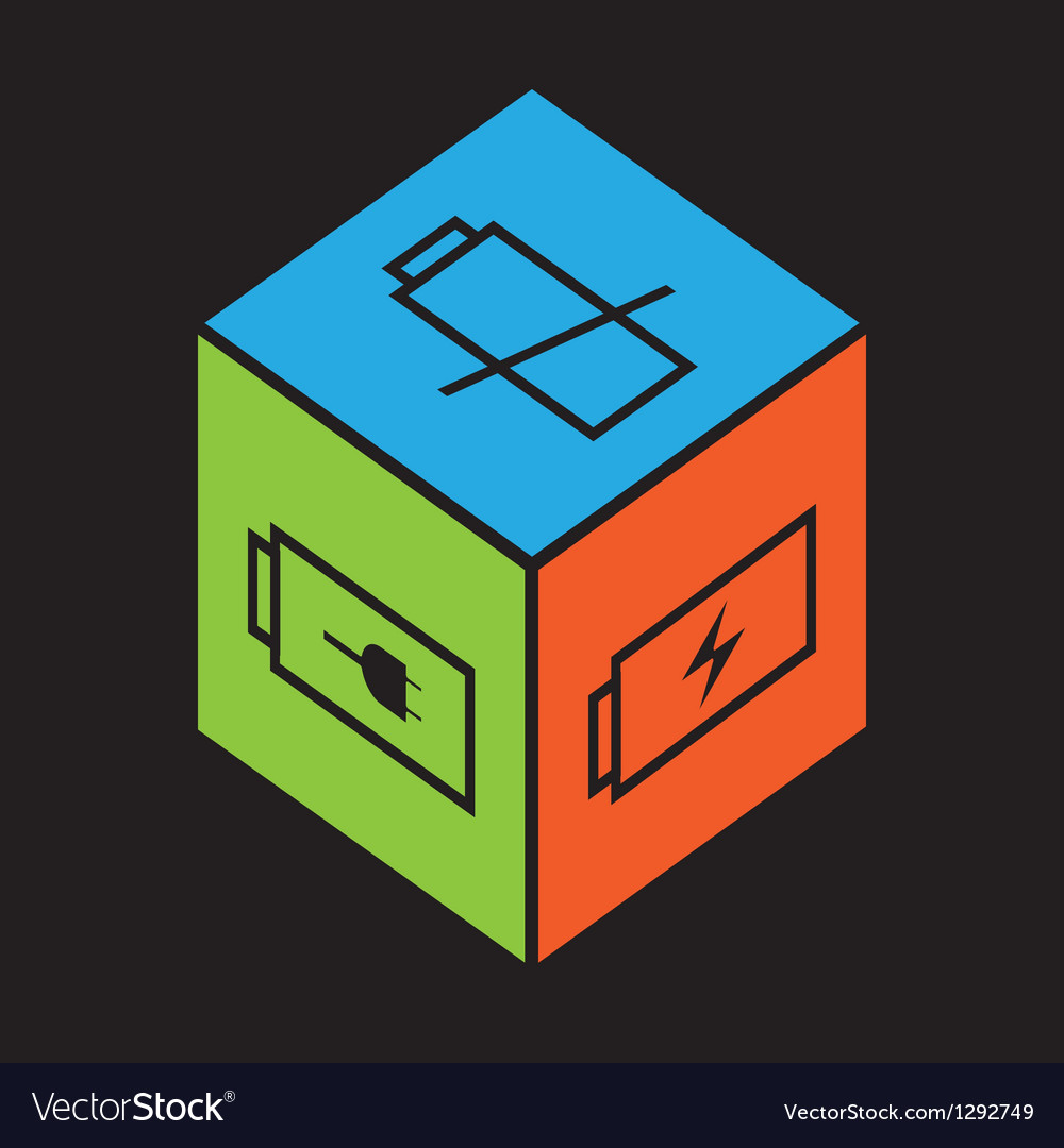 Cube with battery symbol vector