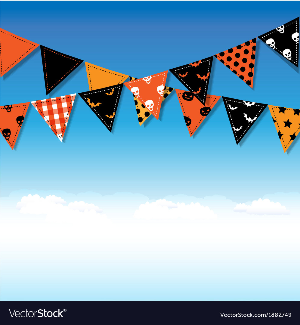 Halloween bunting flags with sky vector