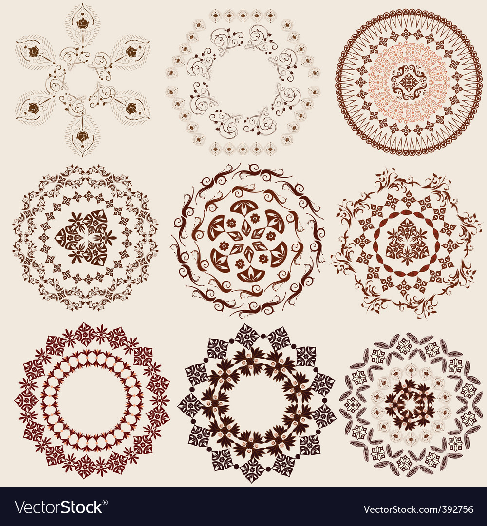 Arabesque pattern set vector