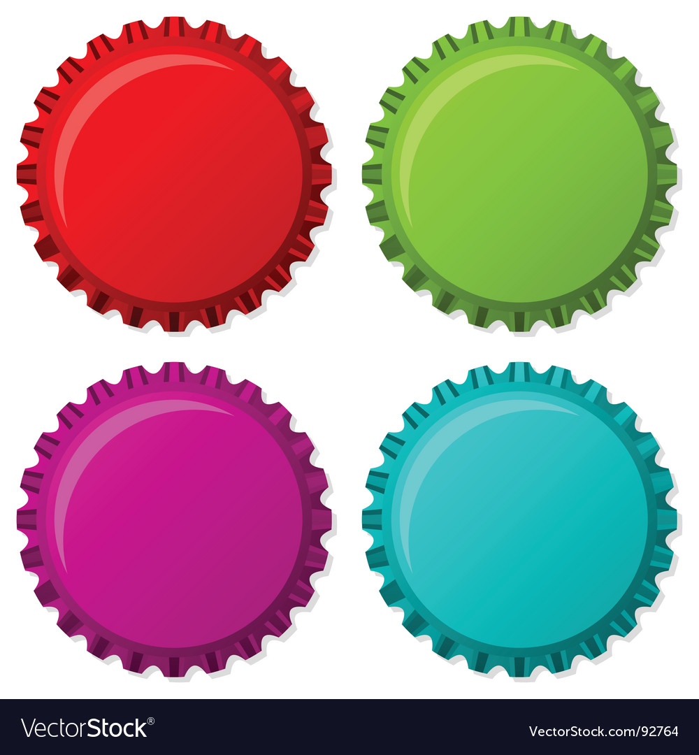 Colorized bottle caps vector