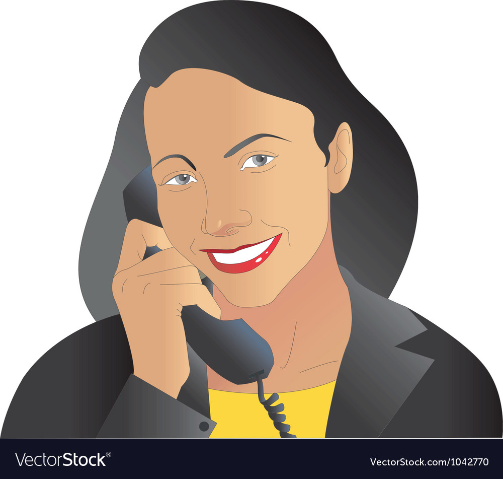Free women on phone vector