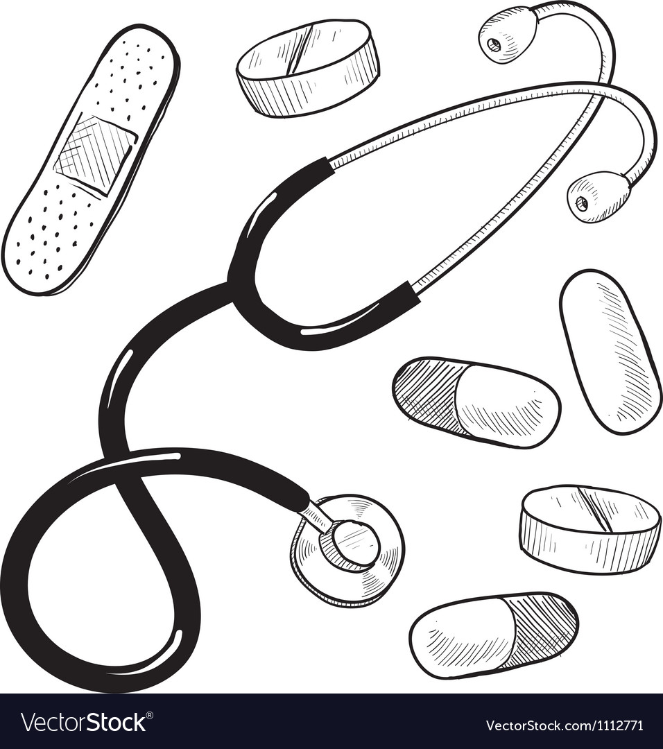Doodle doctor medical stethescope pills bandaid vector