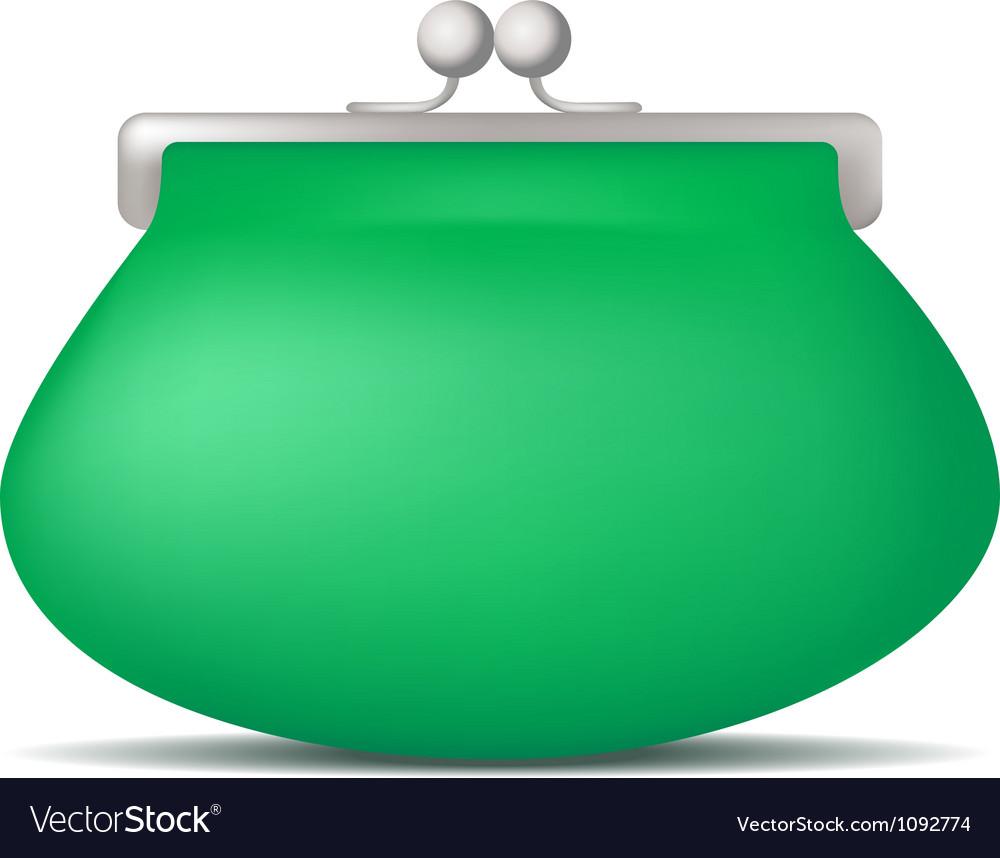 Green purse vector
