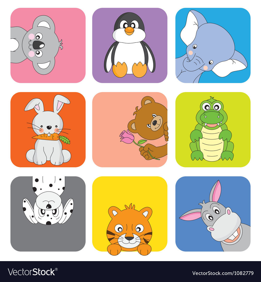 Funny animal card vector