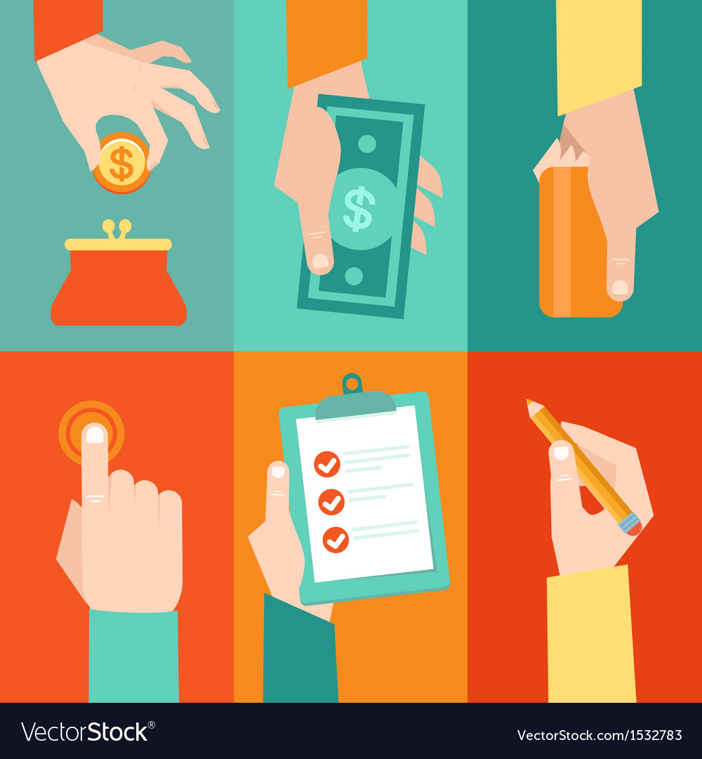 Set of hands - clients purchasing work in flat ret vector
