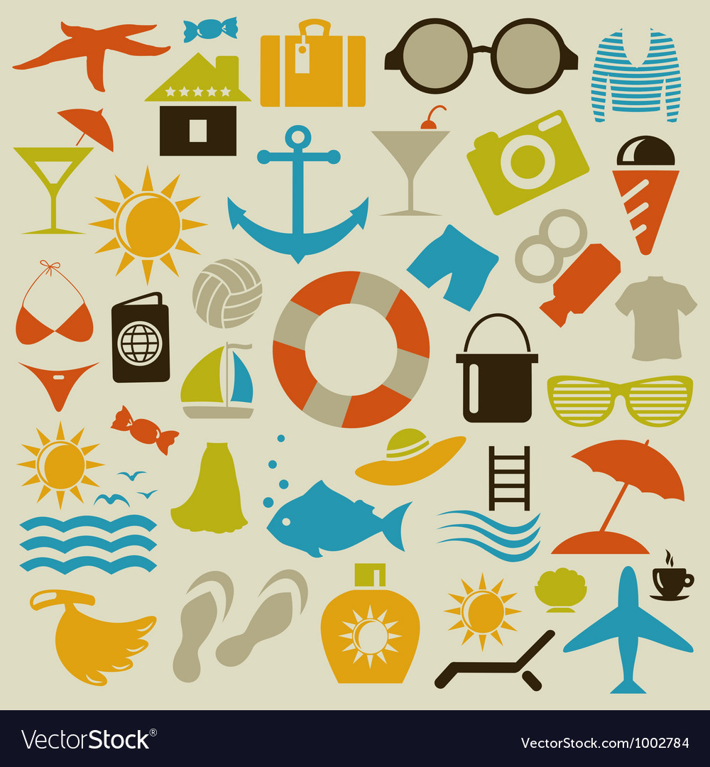 Beach an icon vector