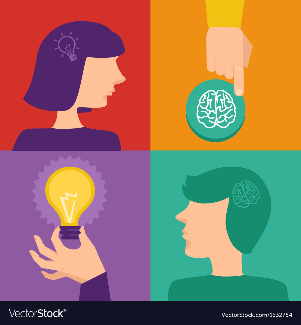 Creativity and brainstorming concept - human brain vector