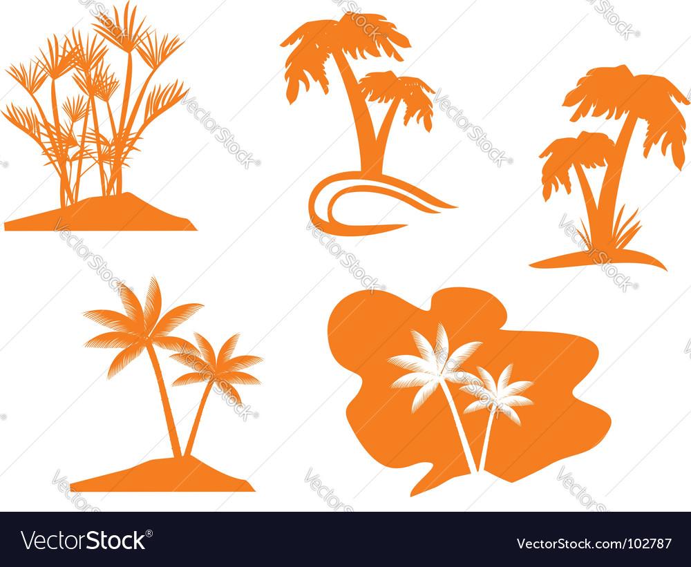 Palm tree set vector