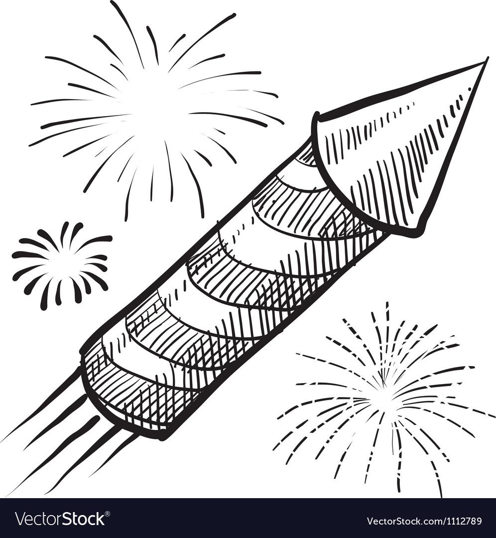 Doodle fireworks vector