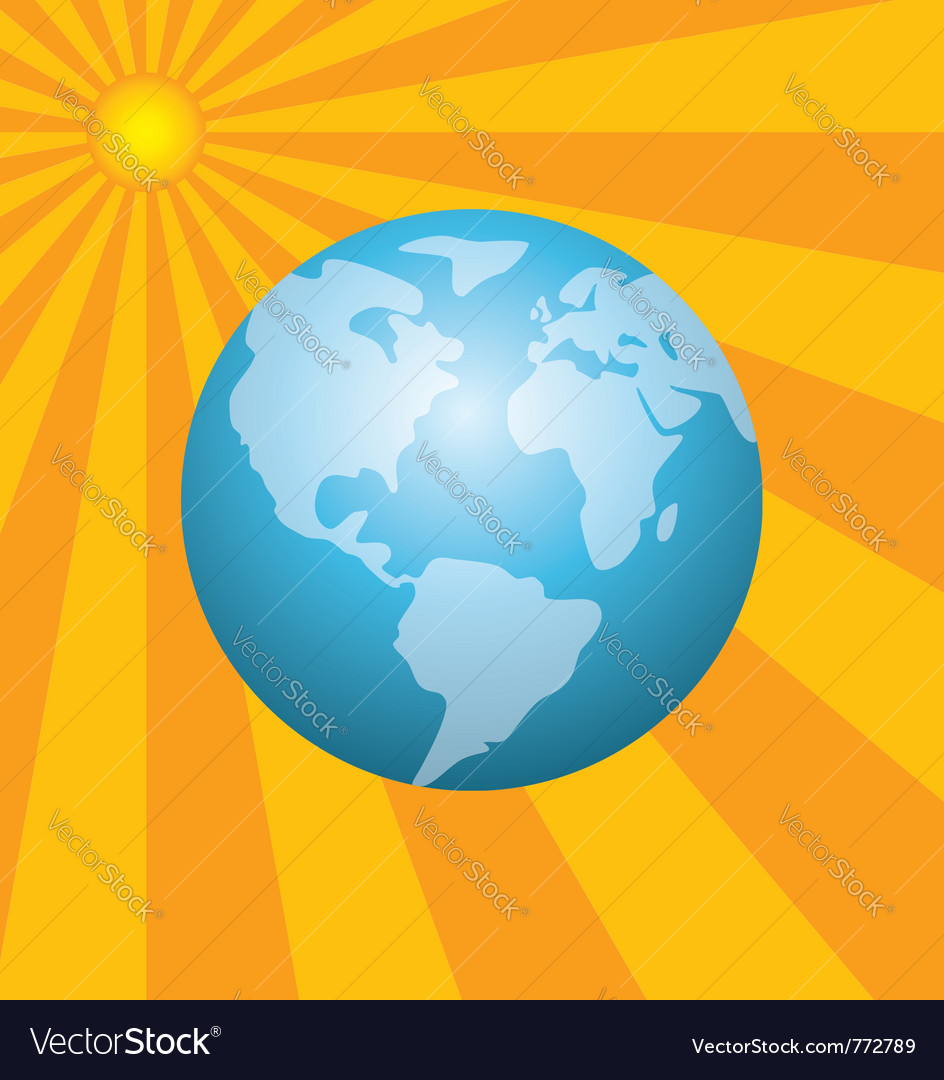 Earth and the rising sun vector