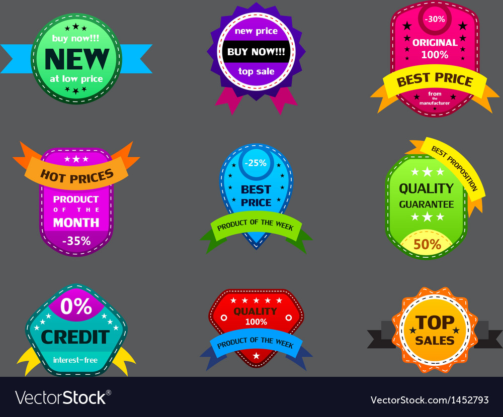 Set of different color labels vector
