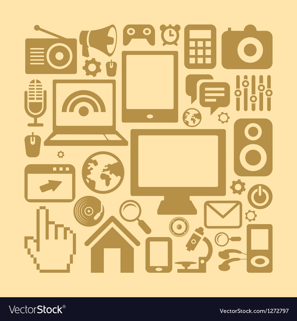 Set of technology icons in retro style vector