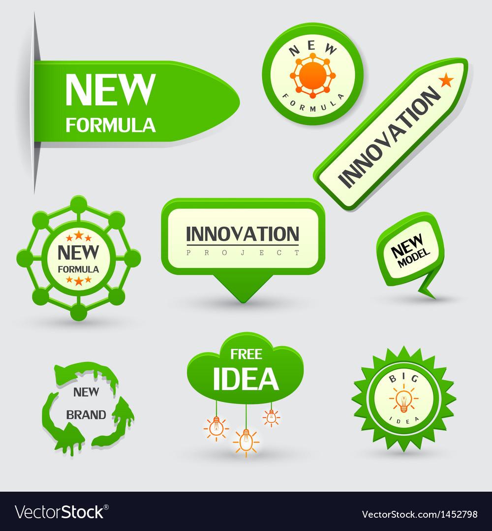 Set of green new formula labels vector