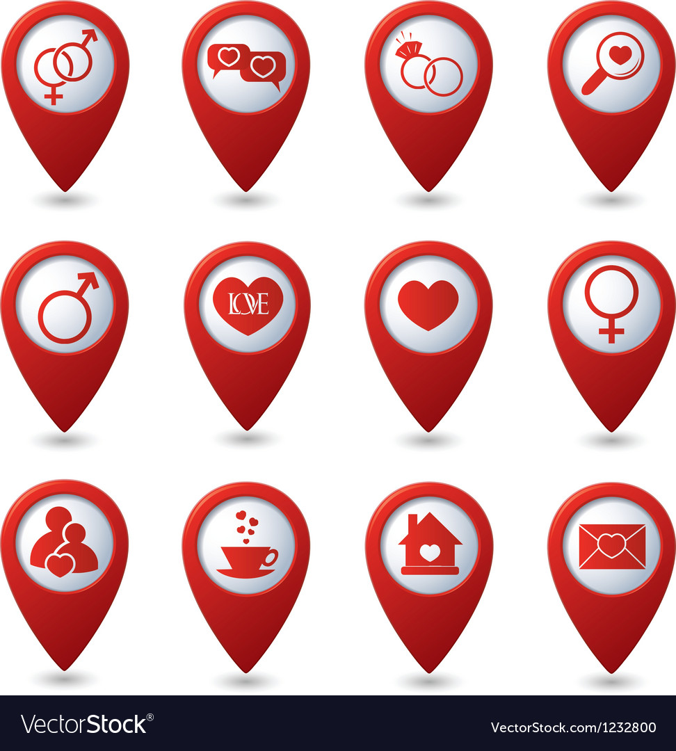 Map pointers with love icons vector