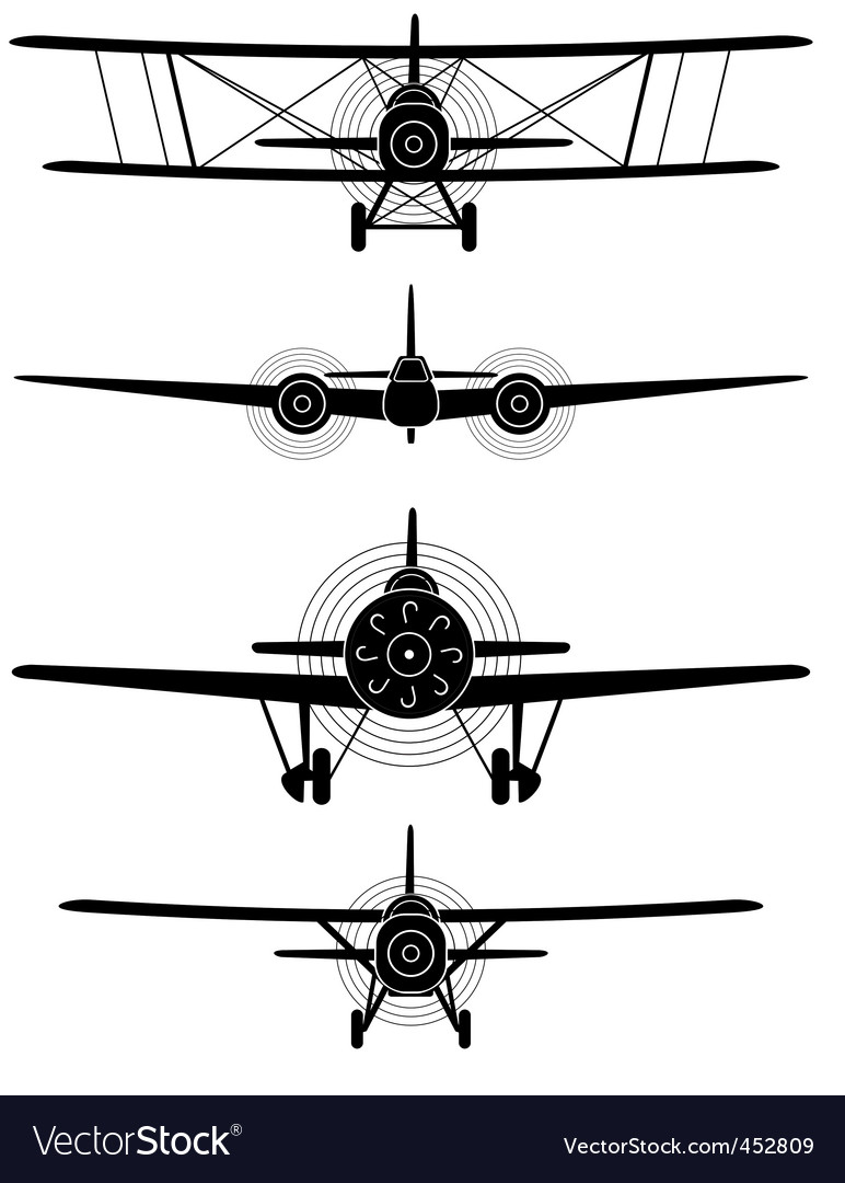 Silhouettes of military aircrew vector