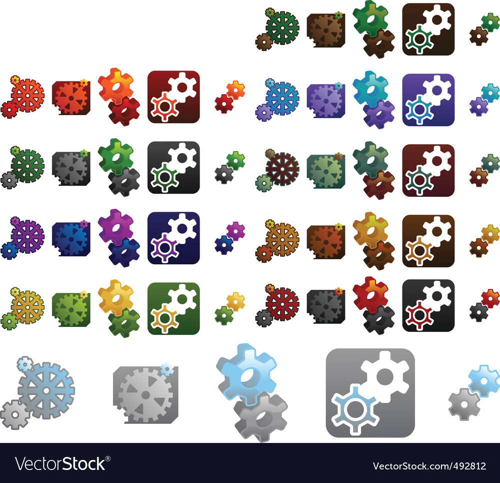 Gears logo elements vector