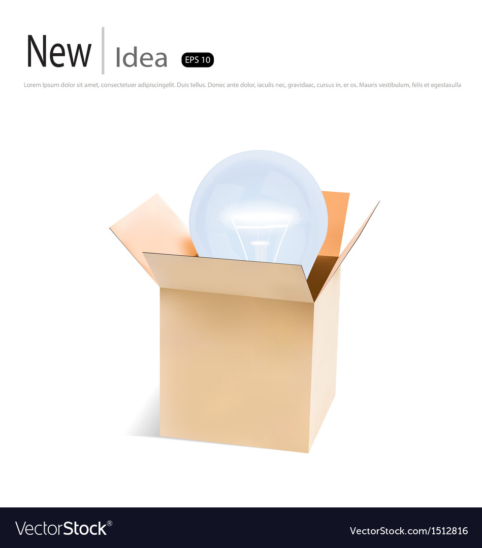 Opened cardboard box with light bulb vector