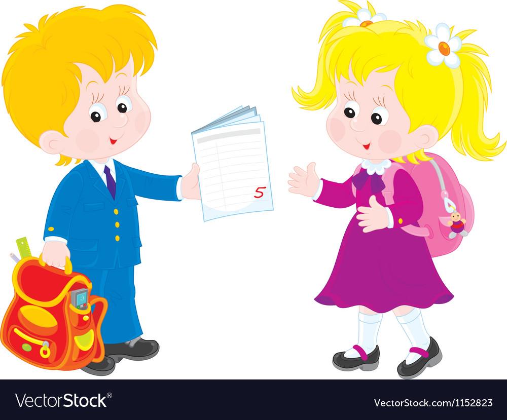 Schoolboy and schoolgirl vector