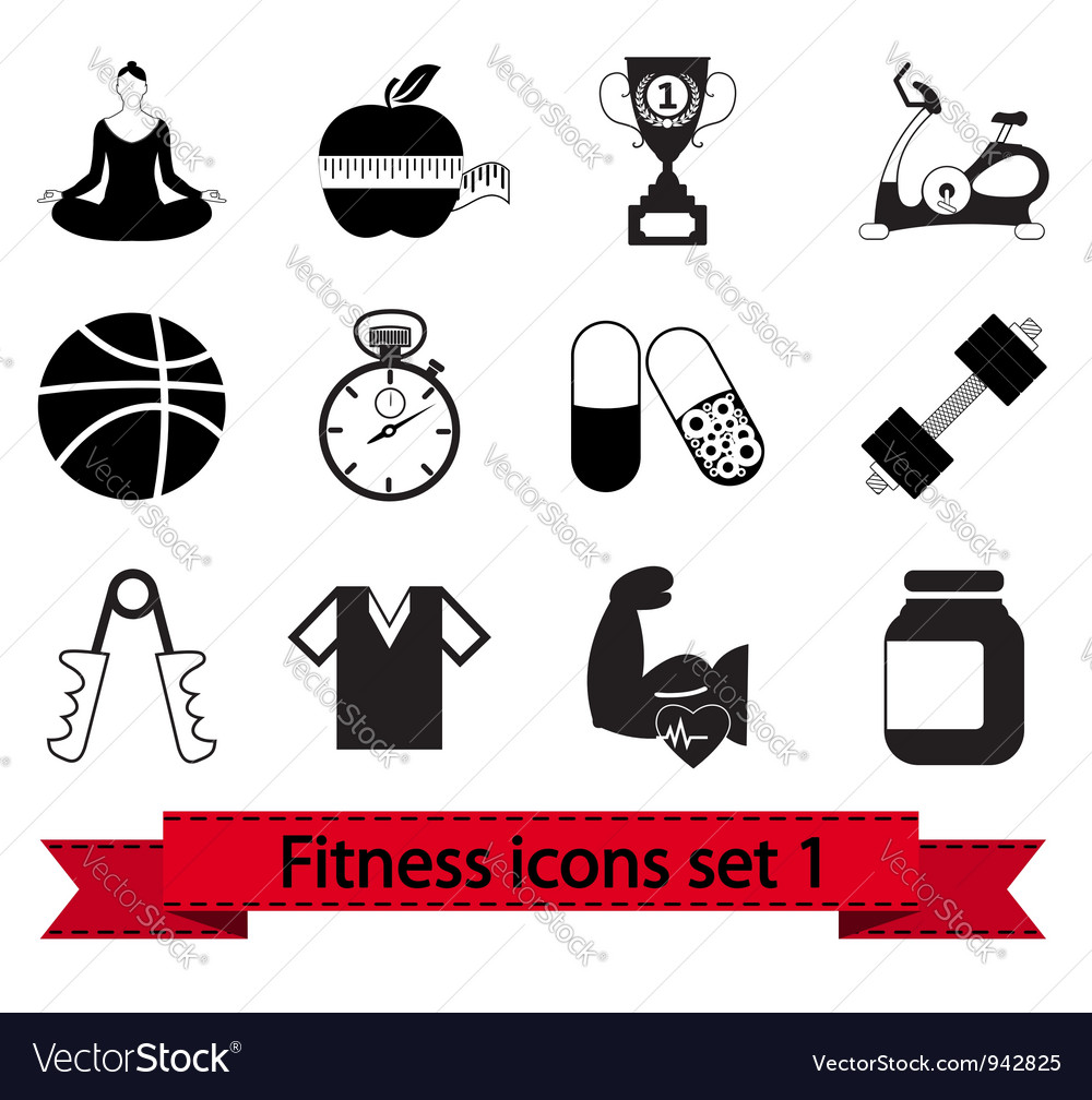 Fitness icon 1 vector