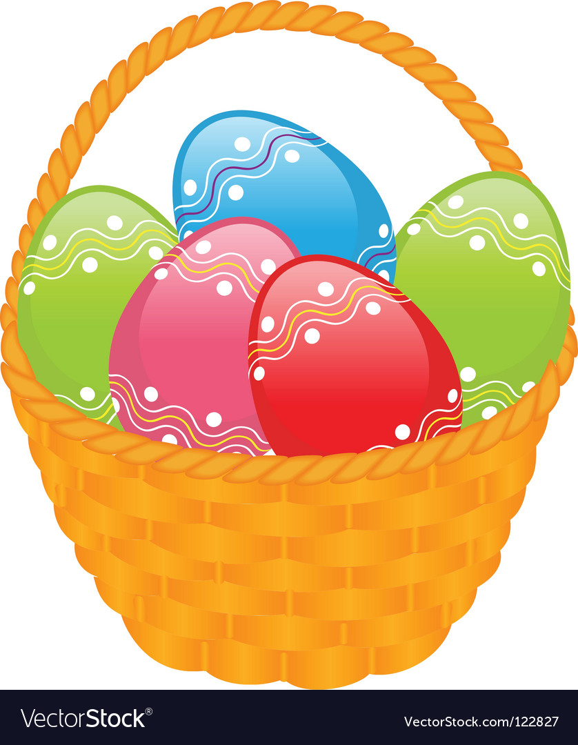 Yellow basket with colored eggs vector