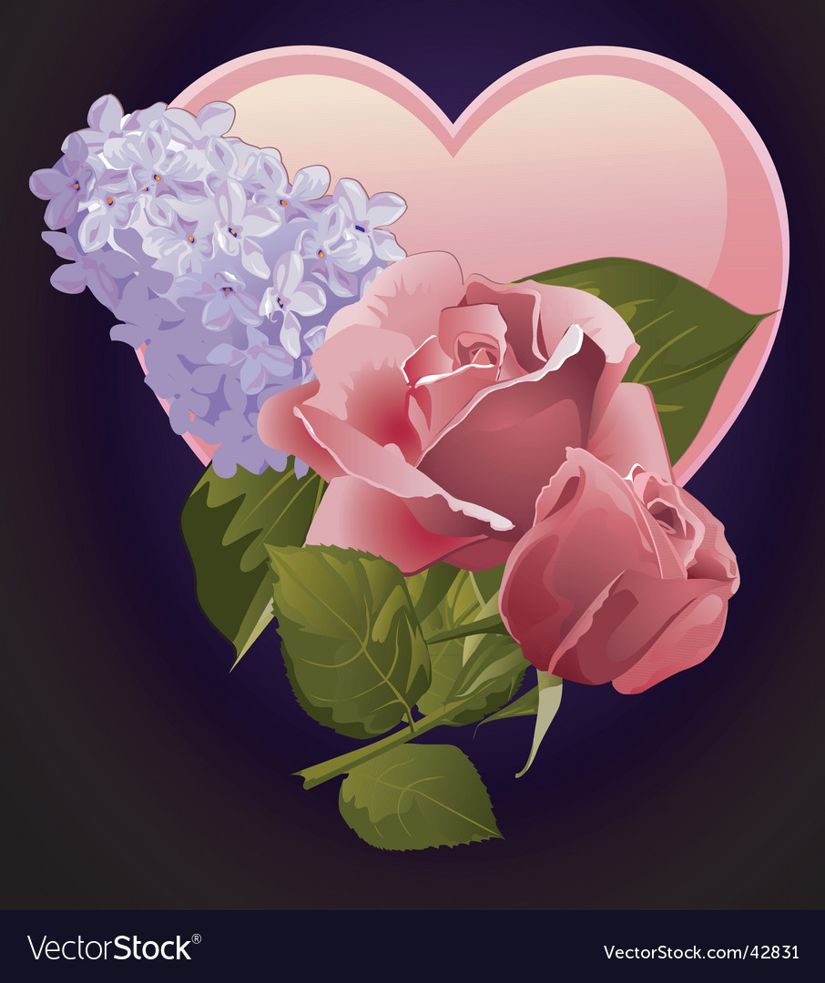 Floral and heart design vector