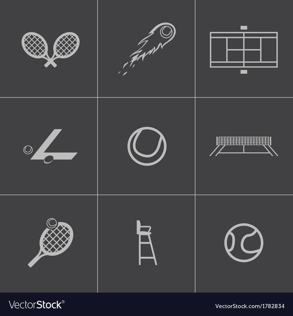 Black tennis icons set vector