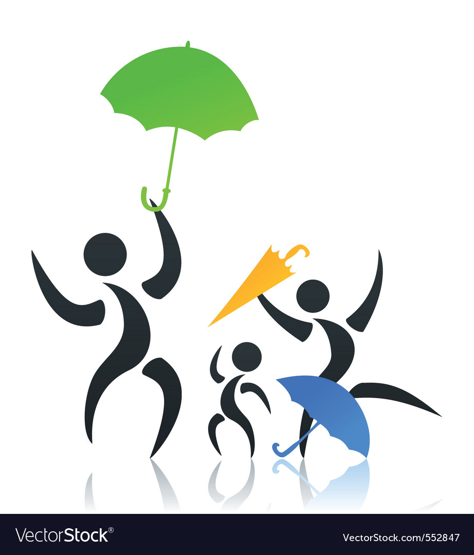 Family with the child under an umbrella a  i vector