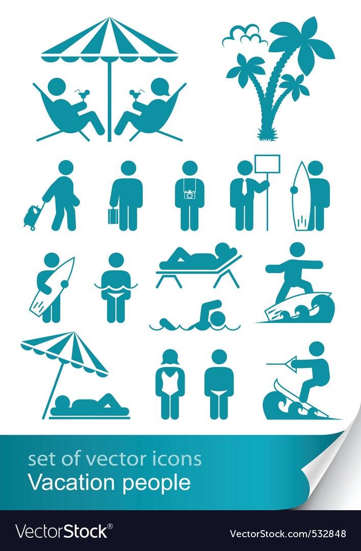Set icon vacation people vector