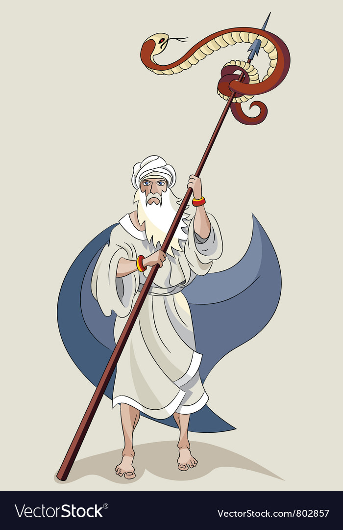 Moses and serpent vector