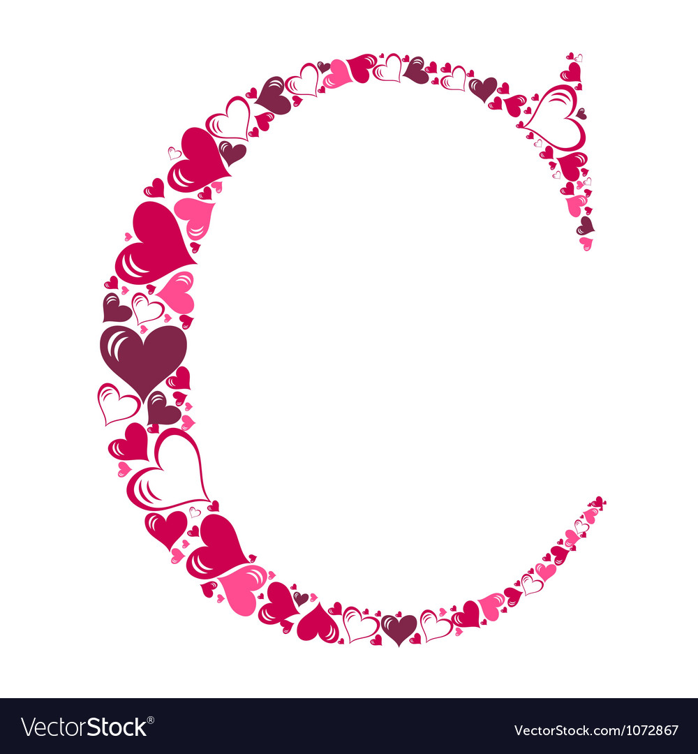 Alphabet of hearts vector