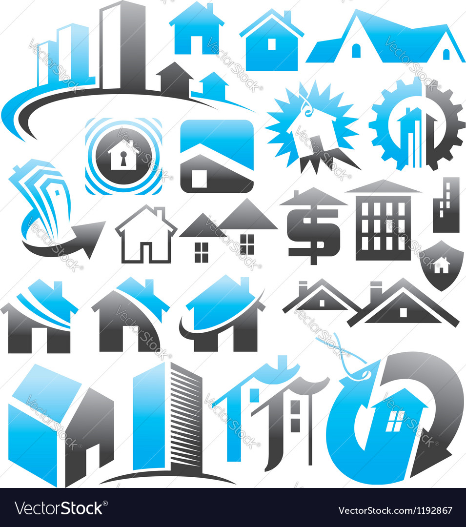 Set of house icons symbols and signs vector