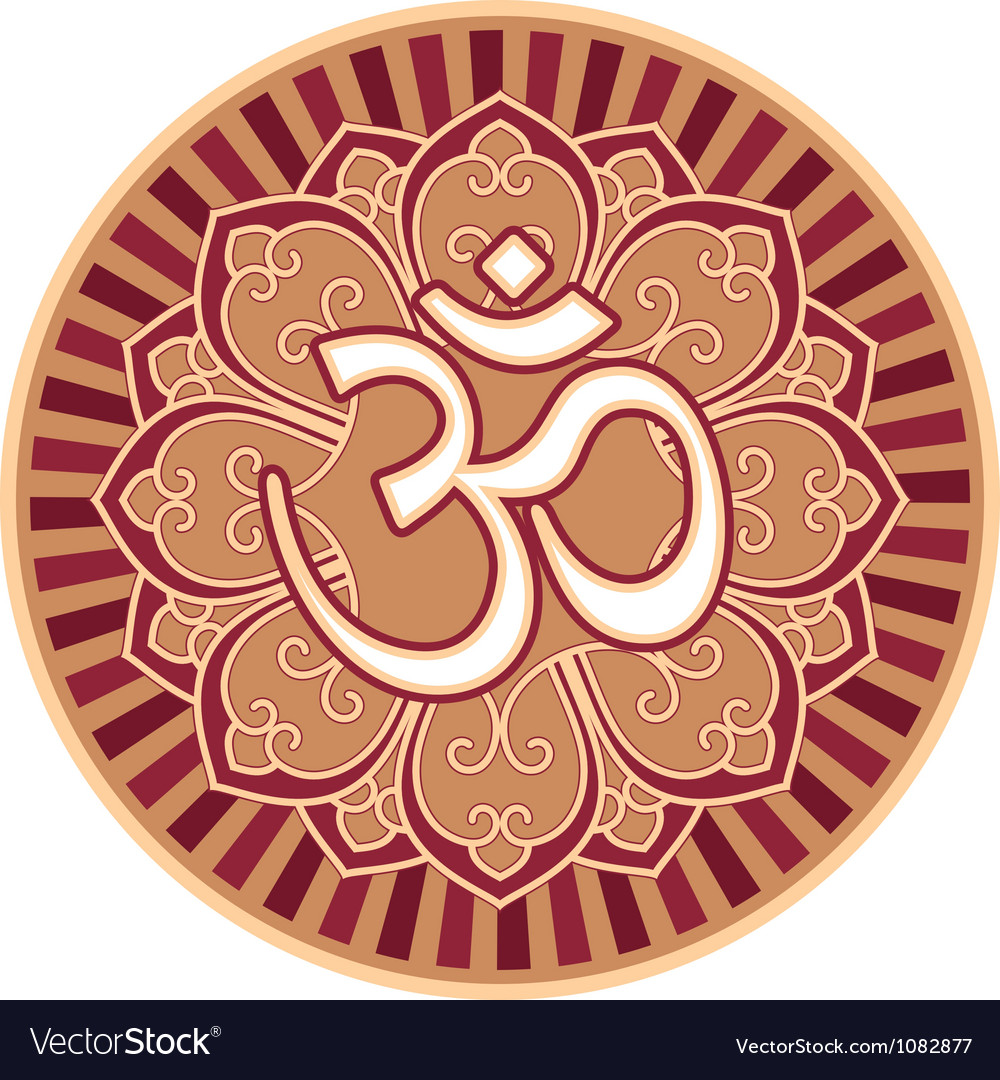 Om  aum  symbol in flower rosette vector