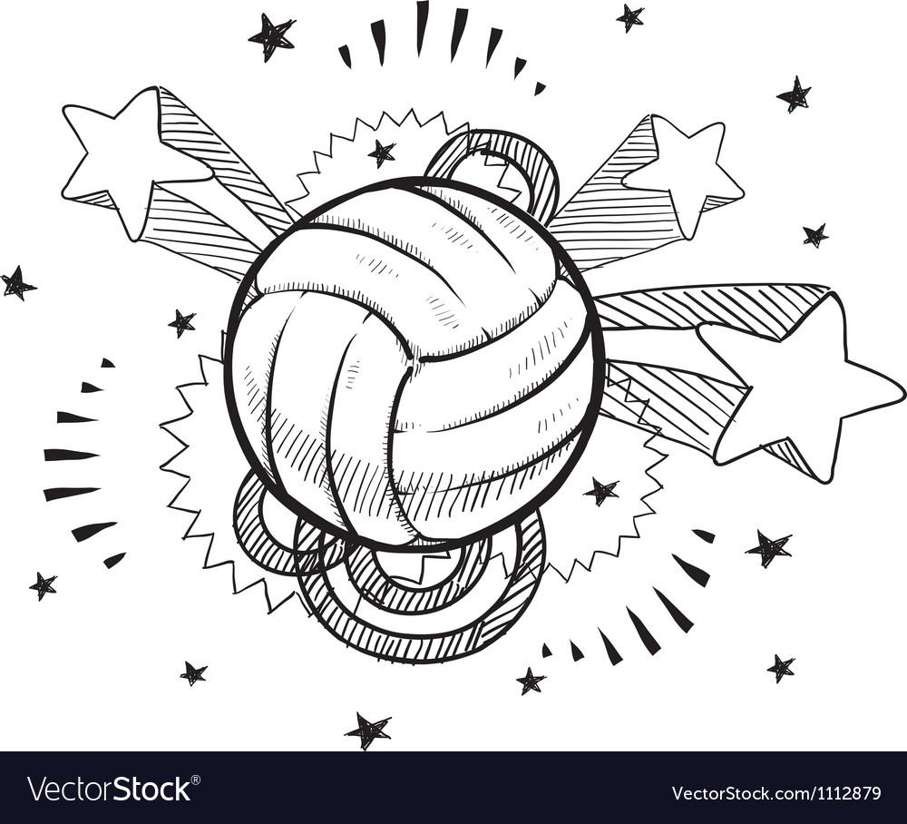 Doodle pop volleyball vector